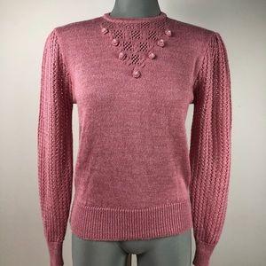 Vintage Sweaters - Vintage Blush Pink Cross-Roads Sweater